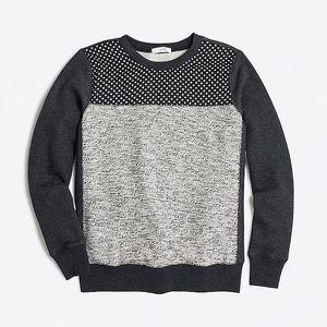 J. Crew Mixed Media Sweatshirt- Large
